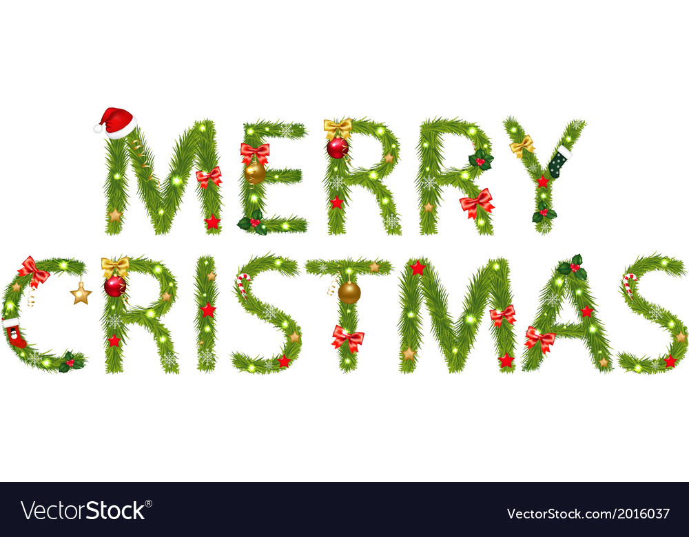 Text Tree Branches And Christmas Tree Decorations vector image