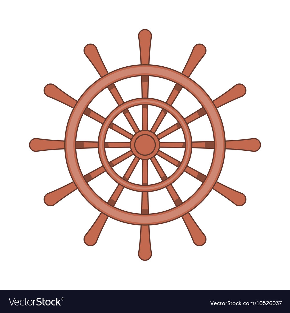 Wooden ship wheel icon cartoon style