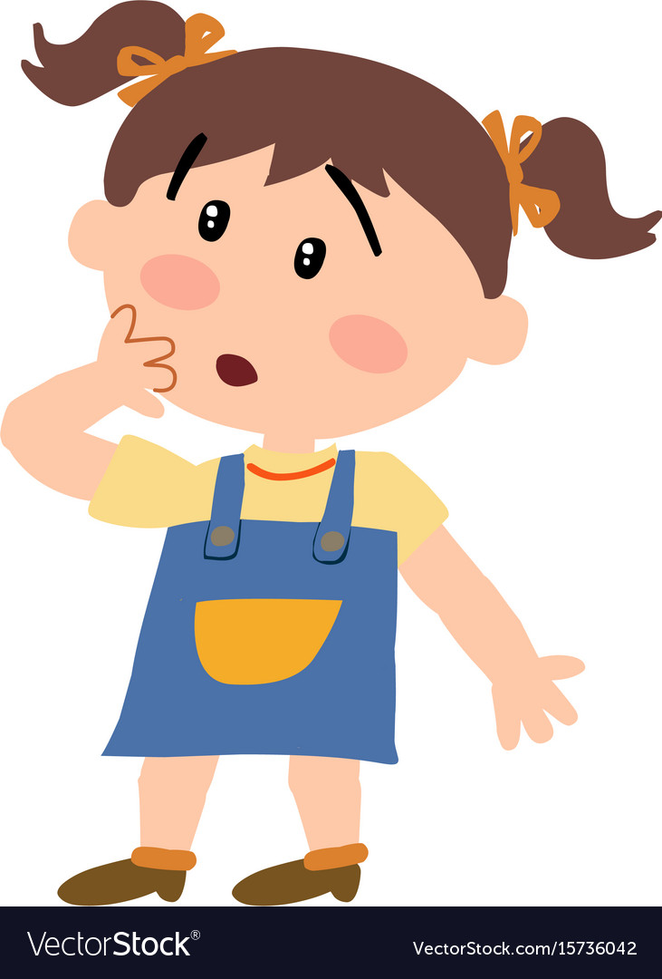 Cartoon Character Girl In Surprise Royalty Free Vector Image