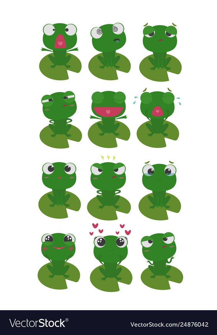 Frog character emotions