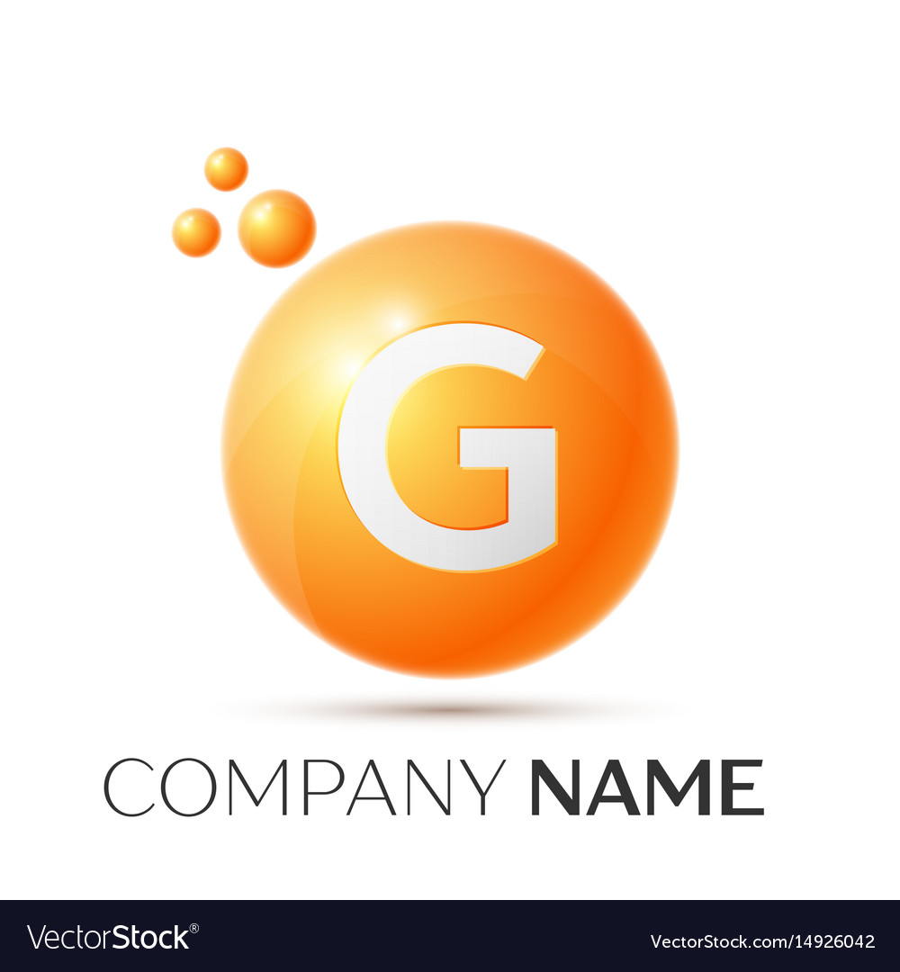 G letter splash orange dots and circle bubble vector image