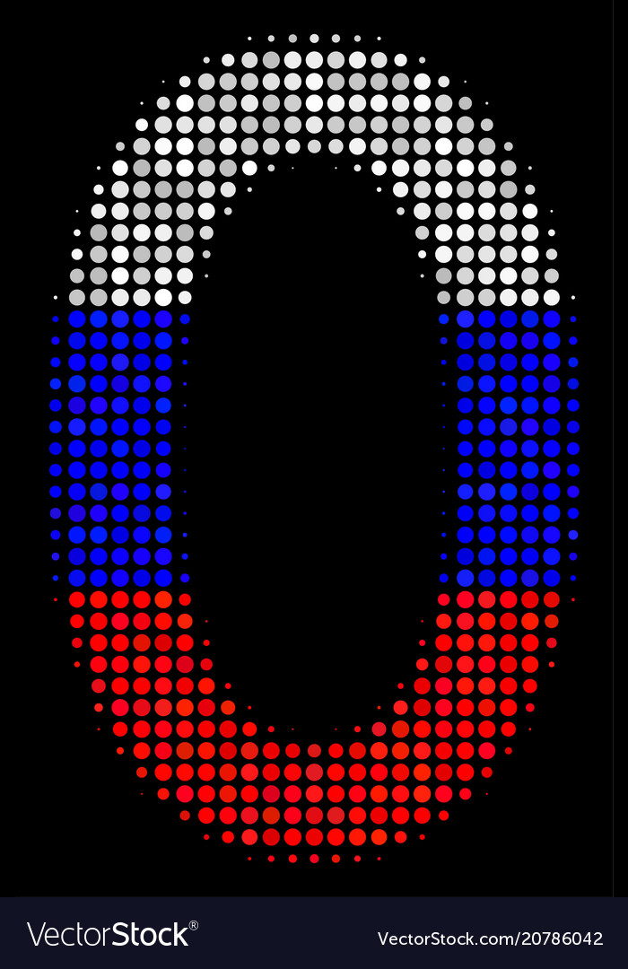 Halftone russian zero digit icon