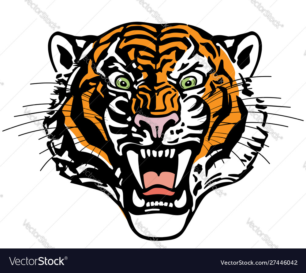 Head roaring tiger