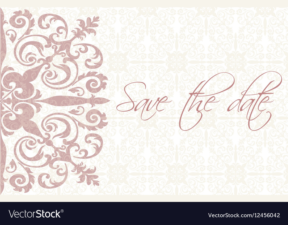 save the date card with ornaments royalty free vector image