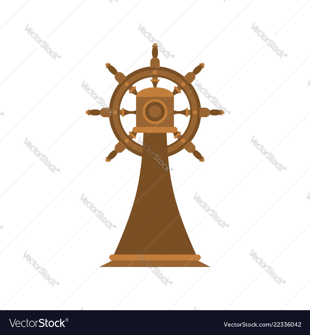 Ship steering wheel on stand isolated ship part