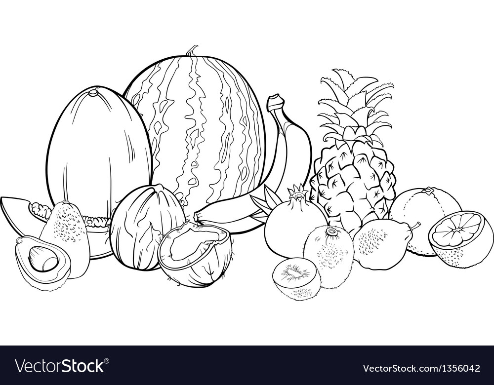 - Tropical Fruits For Coloring Book Royalty Free Vector Image
