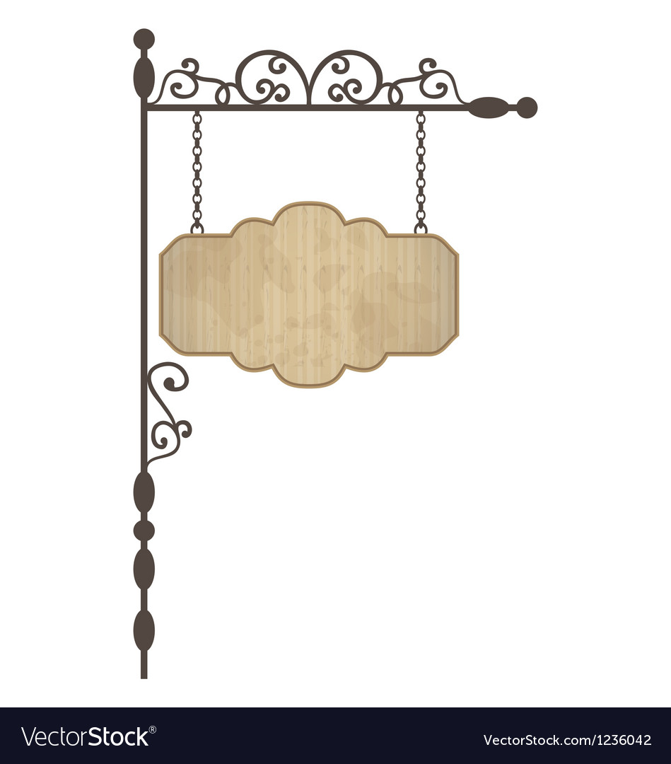 Wooden noticeboard with floral forged elements vector image