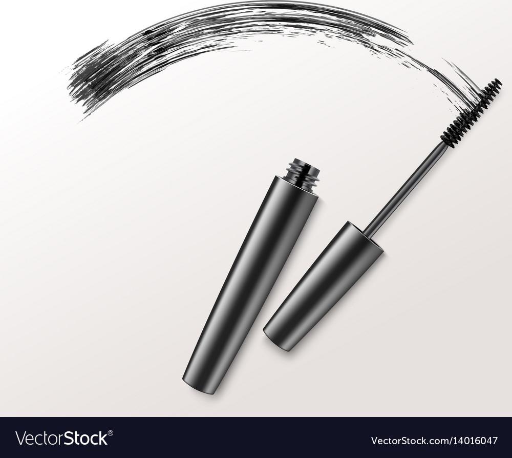 Black mascara brush strockes on background