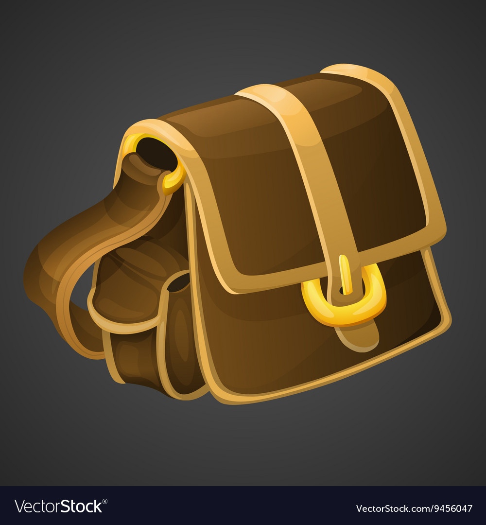 Cartoon old leather bag icon for 2d games
