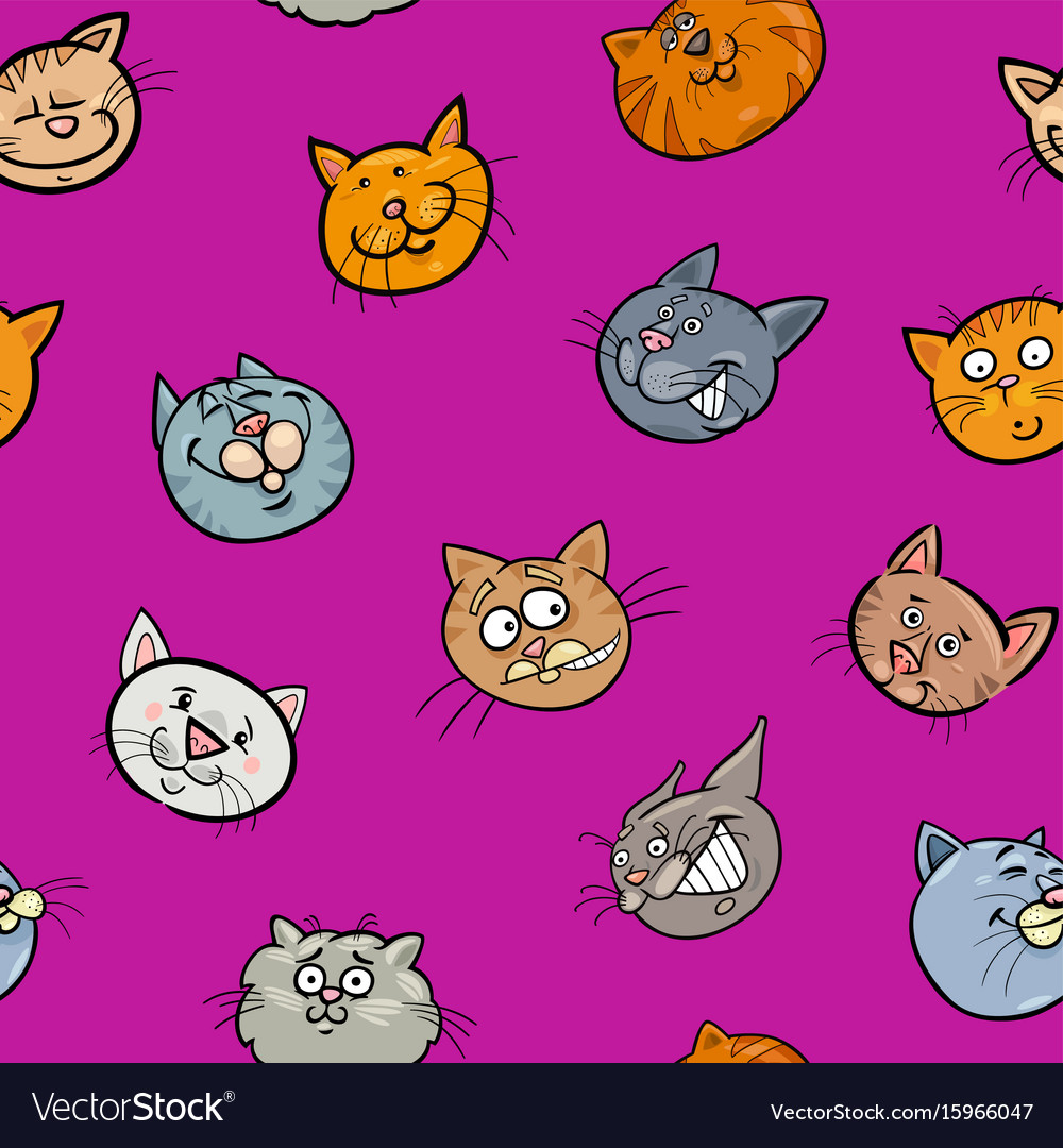 Cartoon Wallpaper With Cats Royalty Free Vector Image
