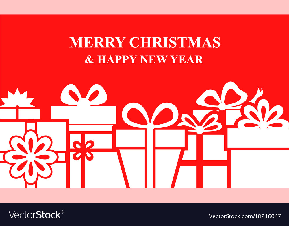 Christmas box gifts background on red background vector image