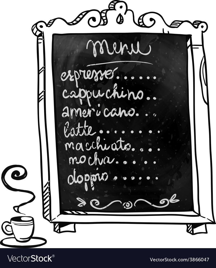 Coffee shop menu on a chalkboard vector image