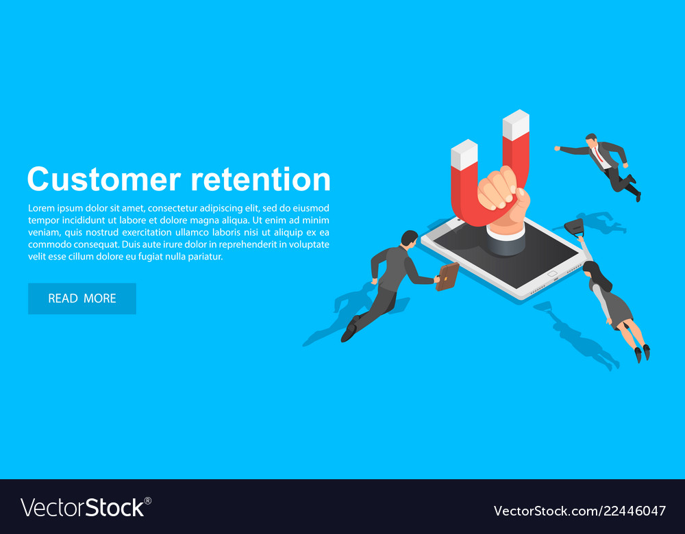 Customer retention concept banner isometric style