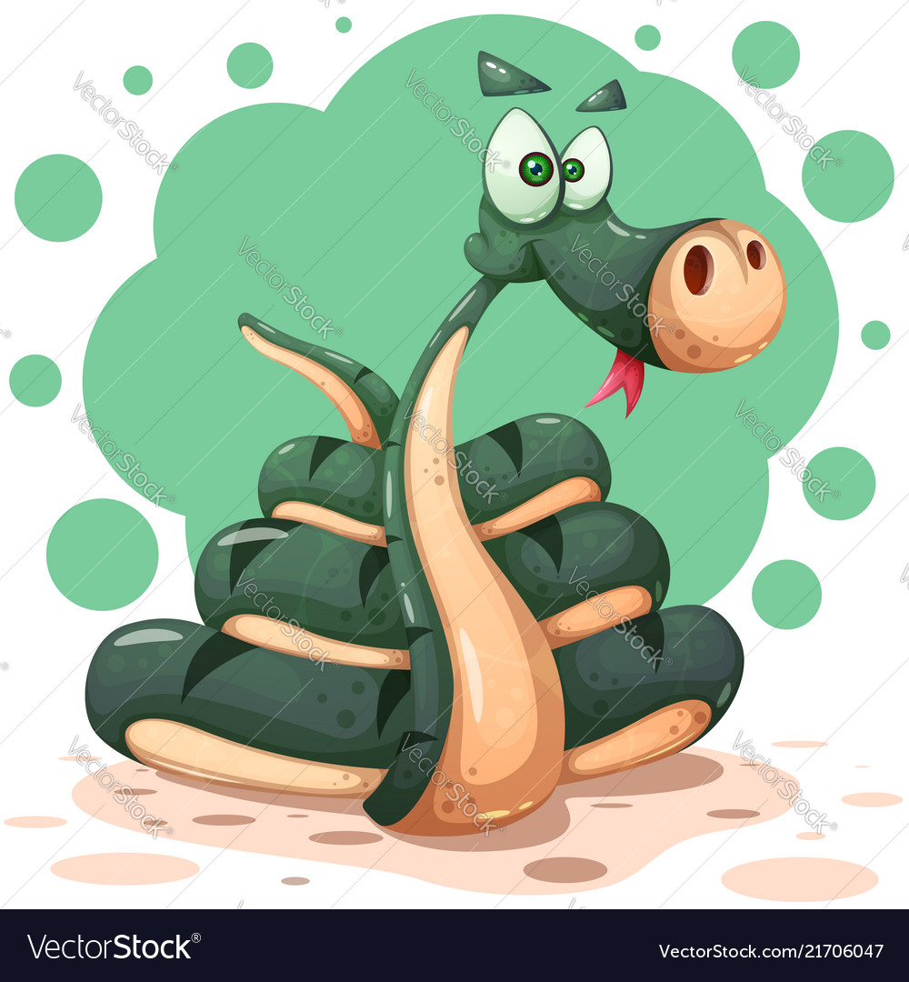 Cute funny crazy snake characters with bow
