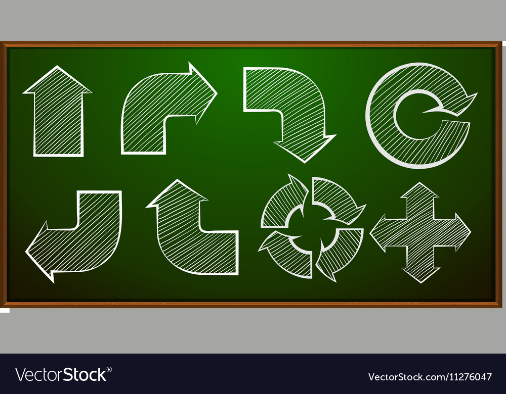 Different shapes of arrows on blackboard