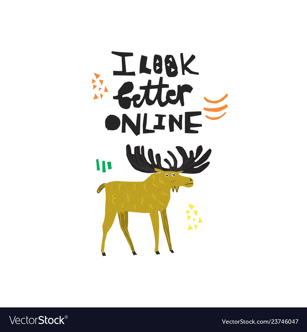 Funny deer hand drawn color