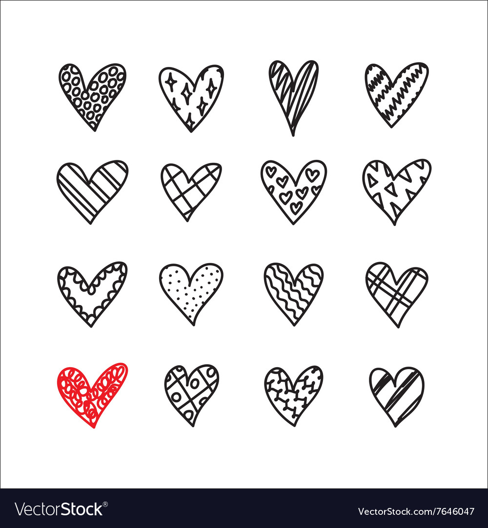 Hand drawn doodle hearts with different pattern