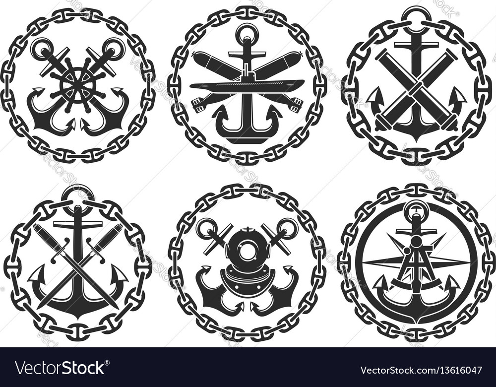 Marine and nautical heraldic anchor icons vector image