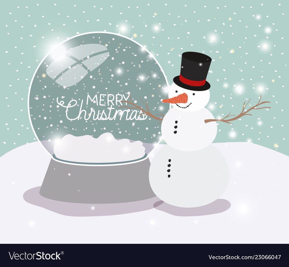 Mery Christmas.Mery Christmas Card With Snowman And Sphere