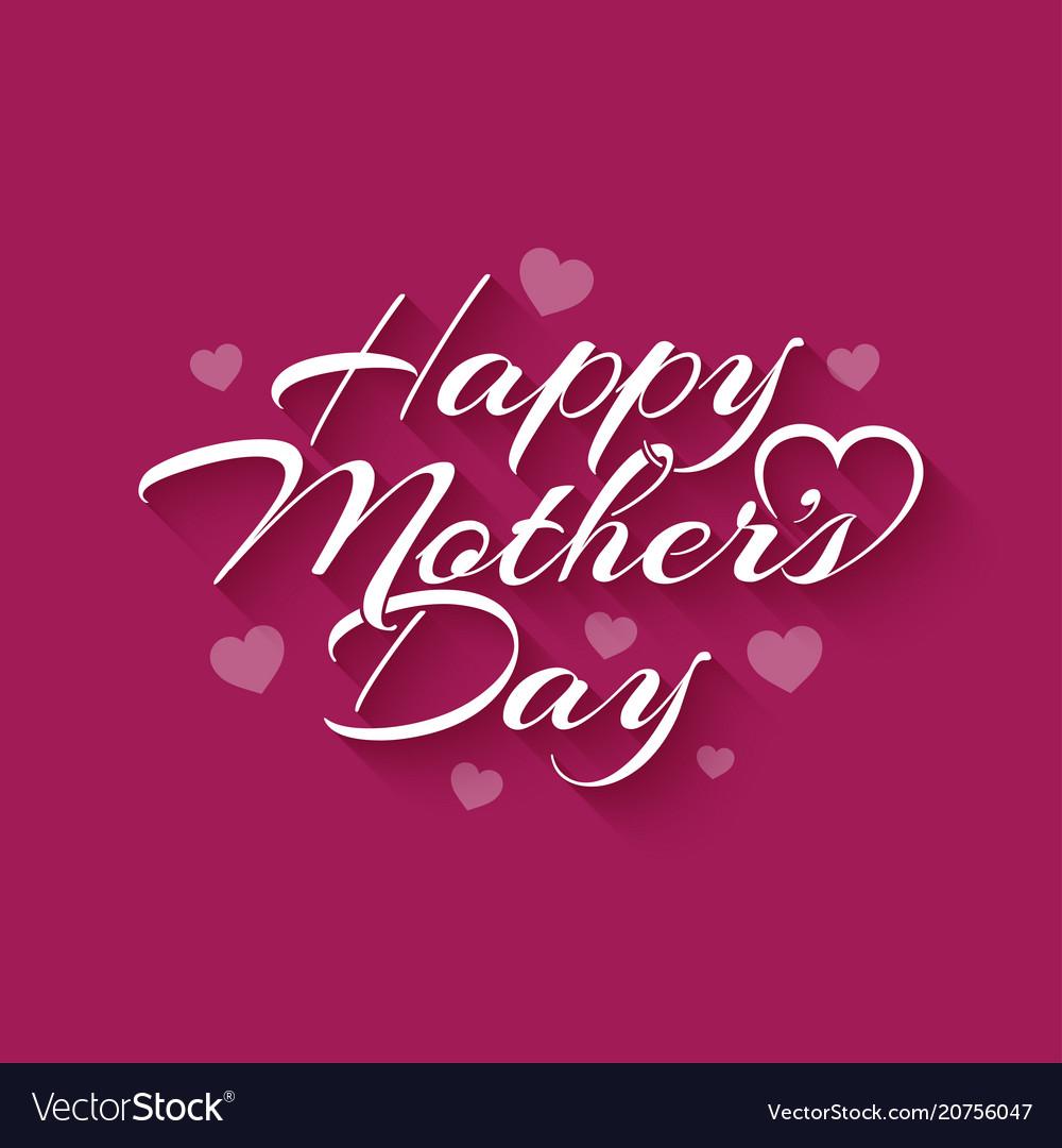 Mothers day vintage lettering on pink background