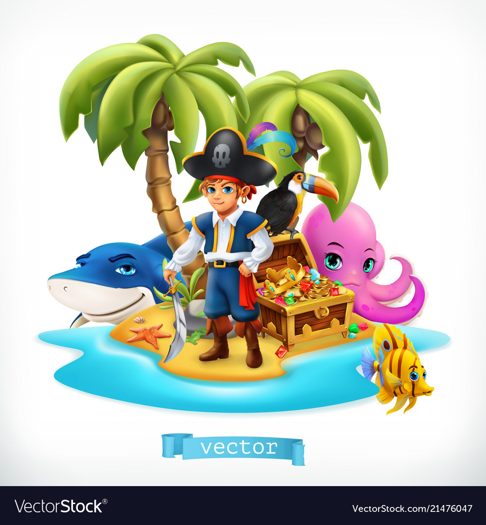 Ppirate little boy and funny animals tropical
