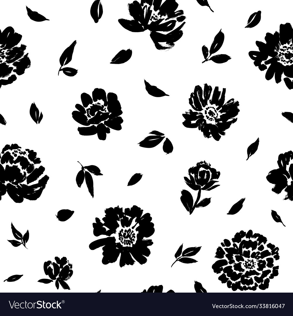 Seamless floral pattern with peonies roses
