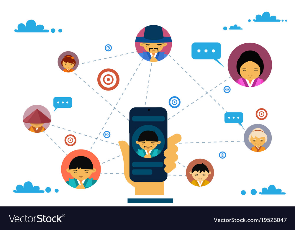 Social media communication and connection concept
