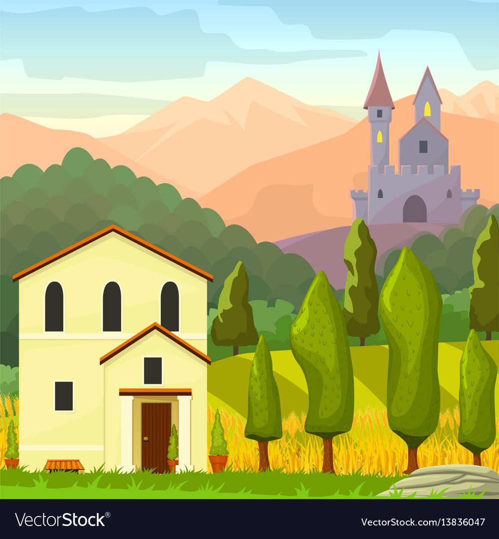 Square medieval landscape vector image