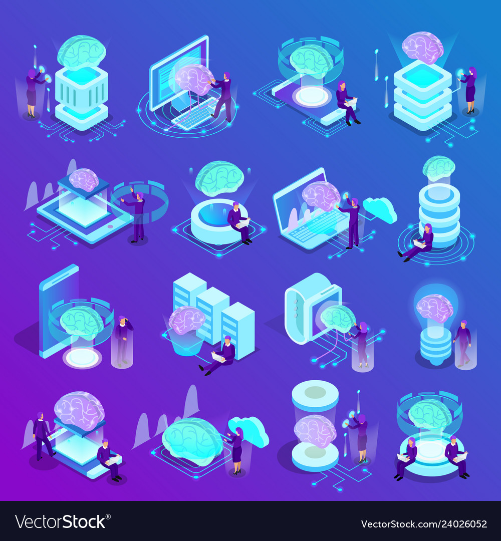 Artificial intelligence isometric icons