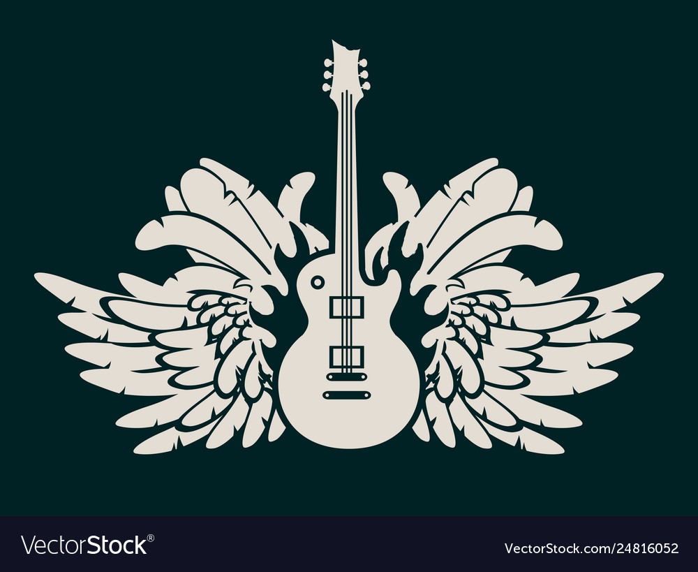 Banner With Electric Guitar And Wings Royalty Free Vector