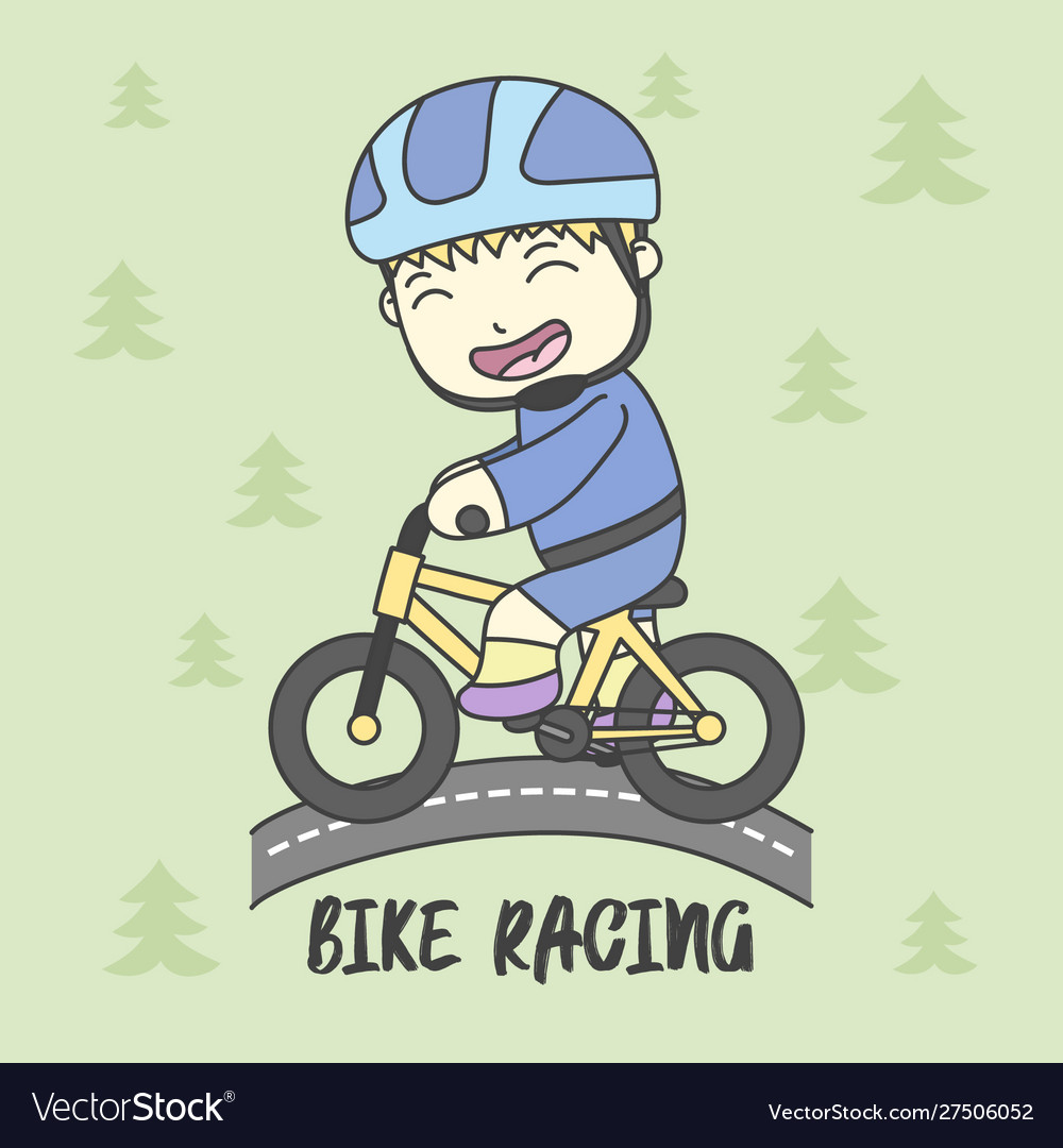 Boy Use Safety Riding For Ride Bike Royalty Free Vector