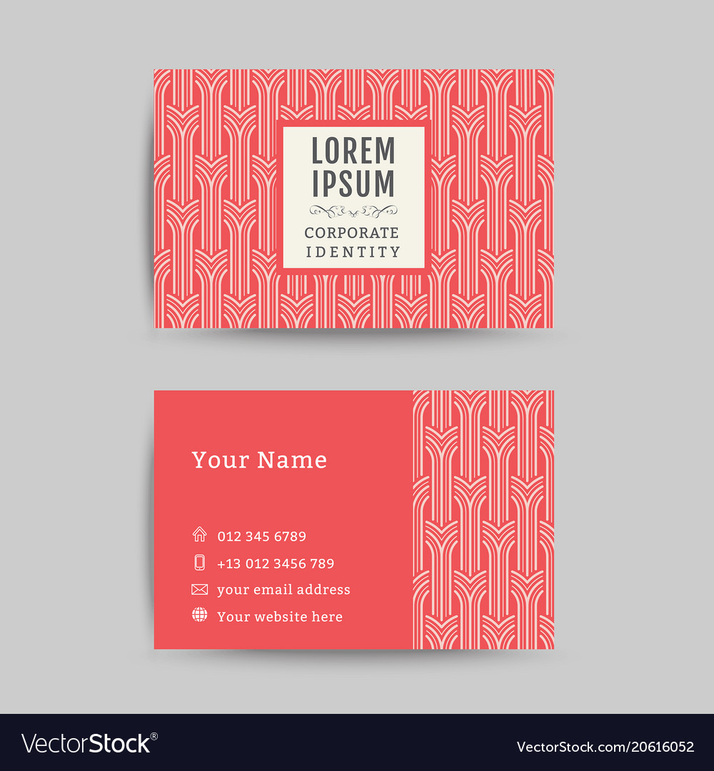 Business card art deco design template 08 Vector Image