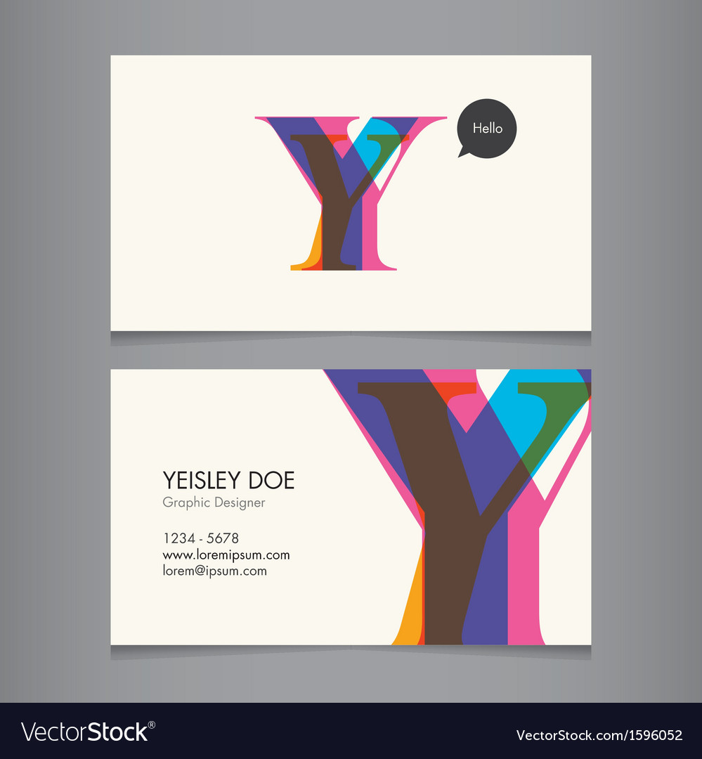 Business card template letter Y