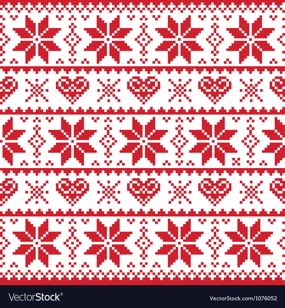 Christmas knitted pattern card - scandynavian