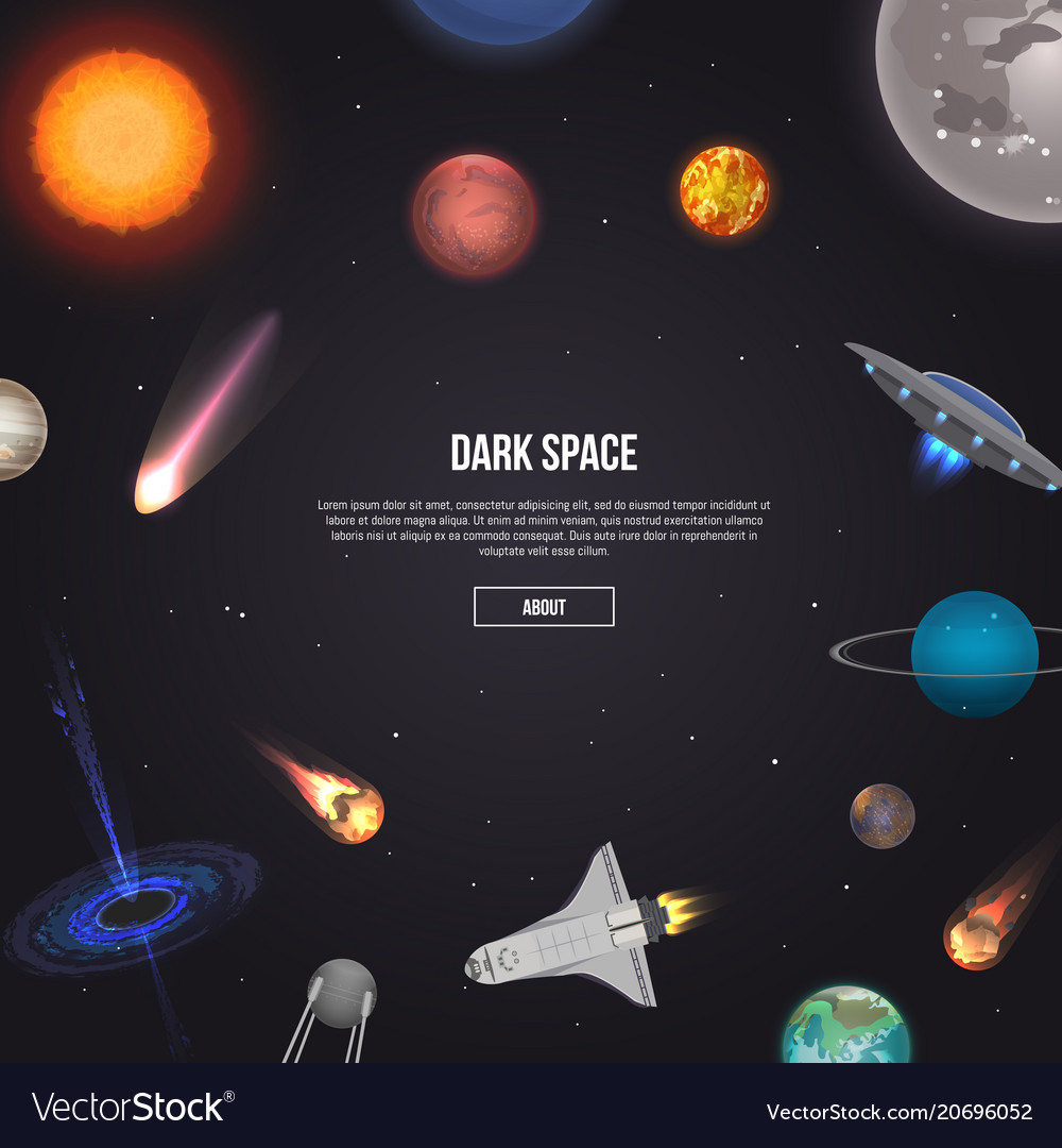 Dark Space Banner With Cosmic Elements Royalty Free Vector
