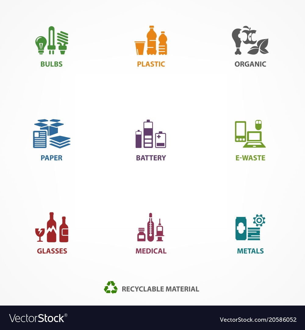 Garbage waste recycling icons