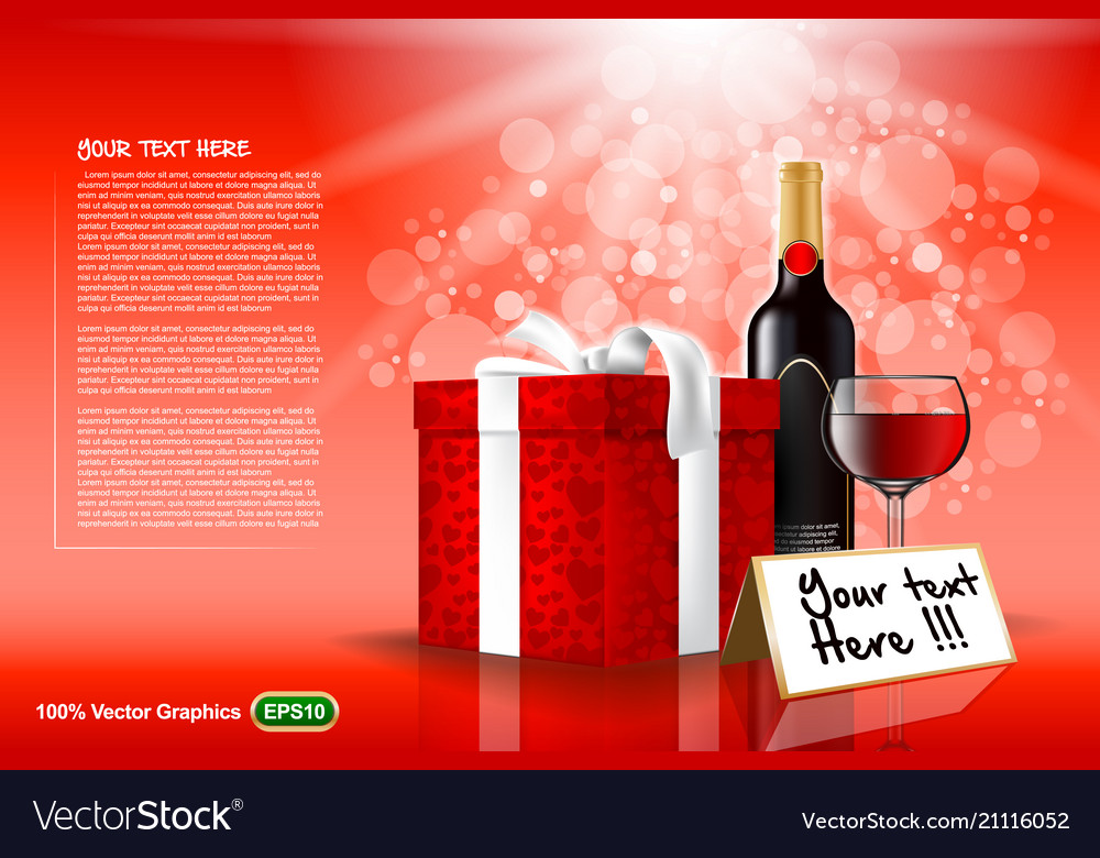 Gift set with wine and glass template