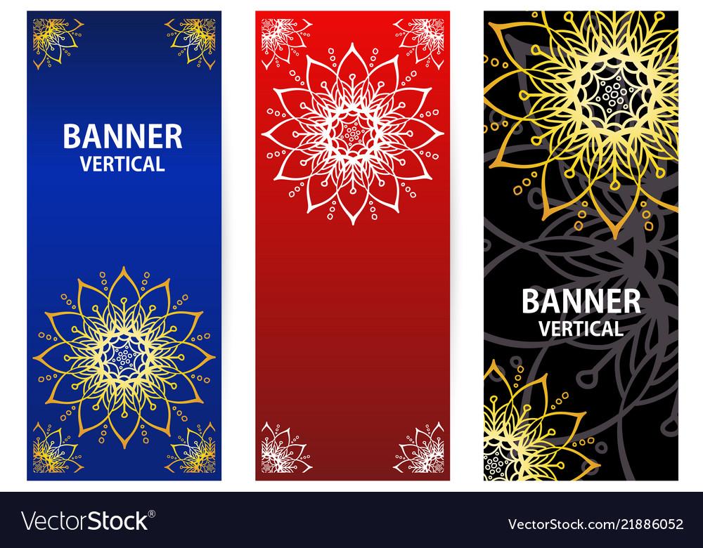 Golden elements mandala on dark red blue
