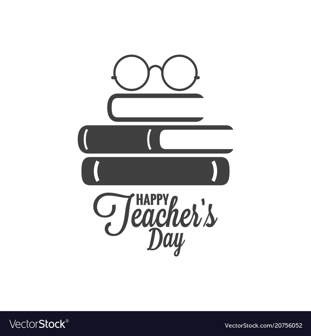 Happy teachers day icon glasses and book logo on