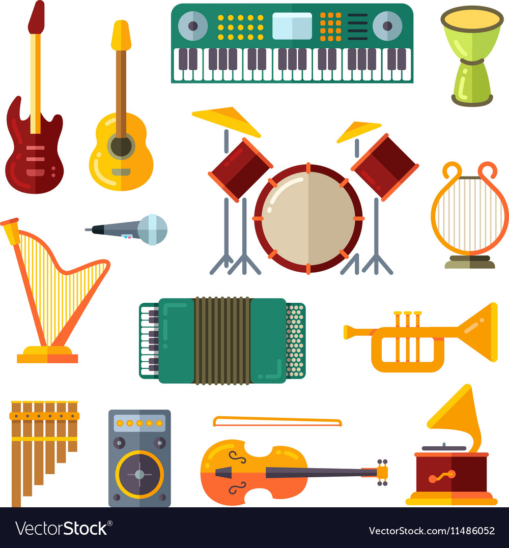 Music instrument flat icons vector image