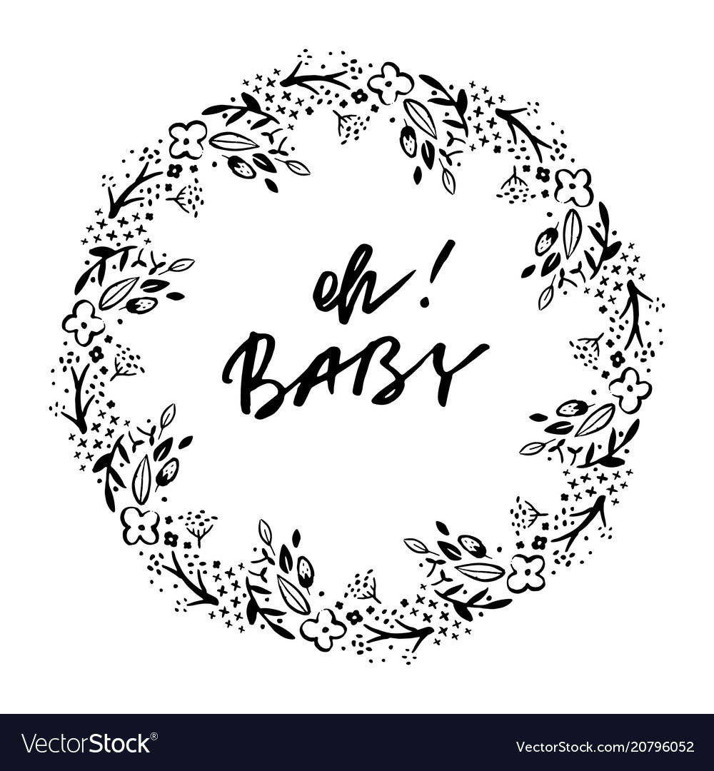 Oh baby phrase baby shower invitation card ink vector image filmwisefo