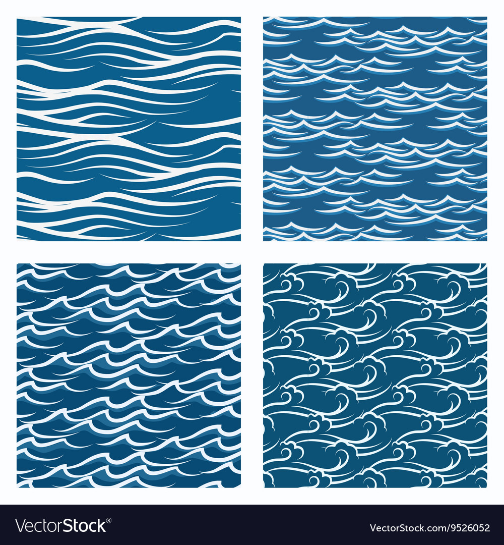 Seamless blue waves pattern set vector