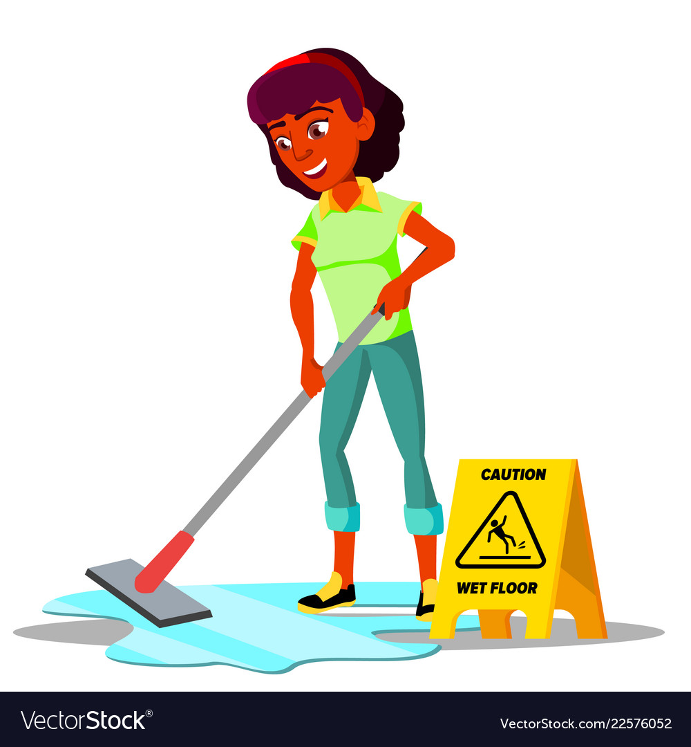 Teenager girl cleaning the floor of flat