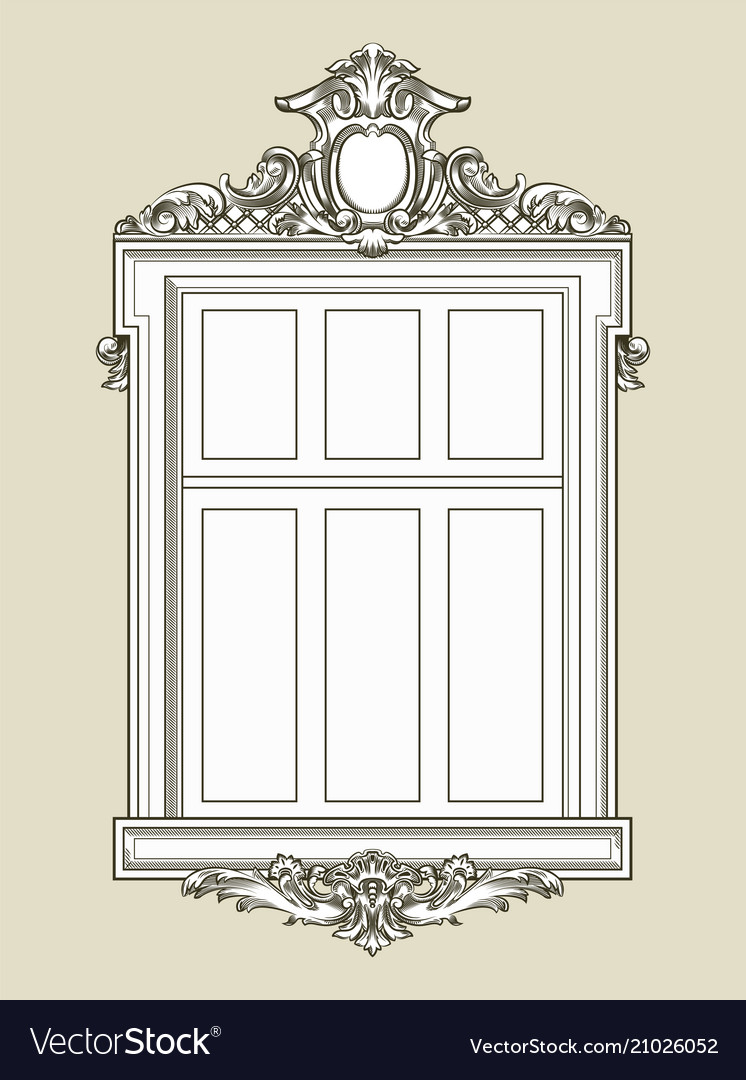 Vintage decorated window with gypsum relief vector image