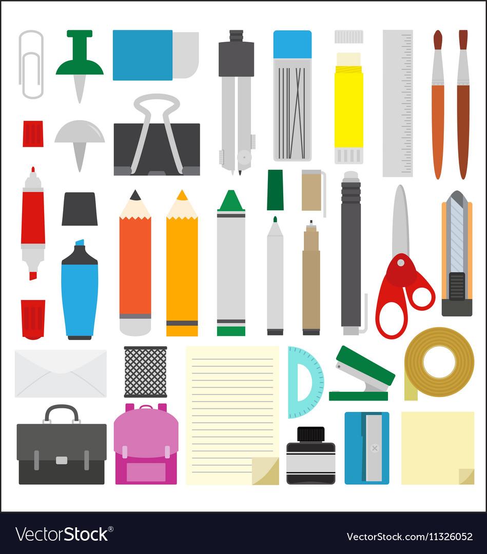 Work draw sketch school stationary flat design set