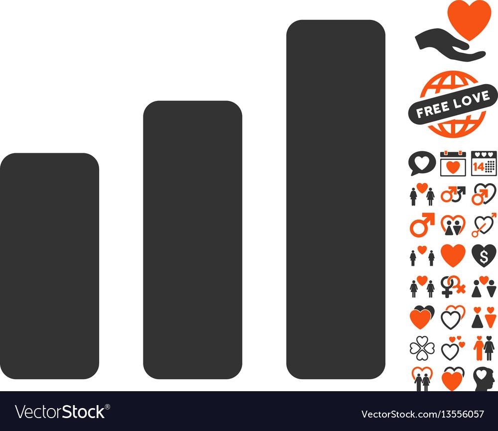 Bar chart increase icon with lovely bonus
