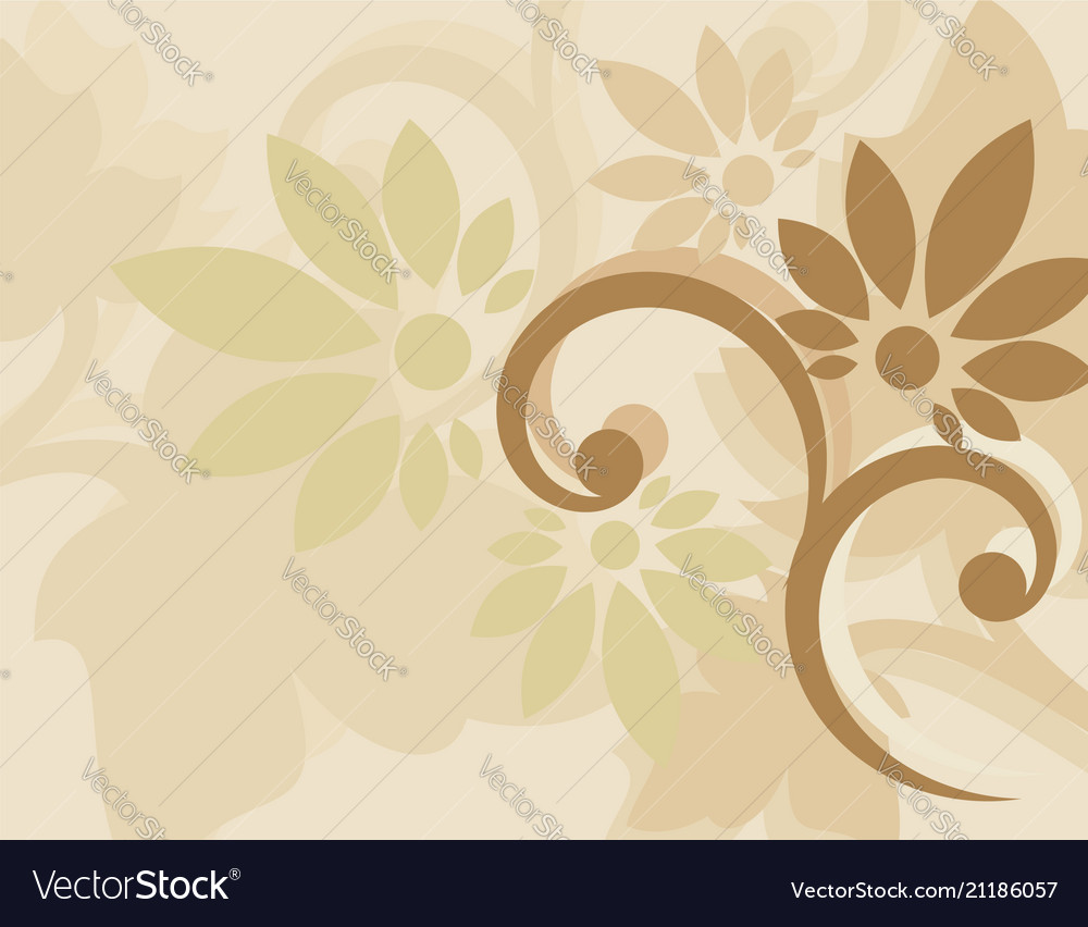 Brown background with swirls floral