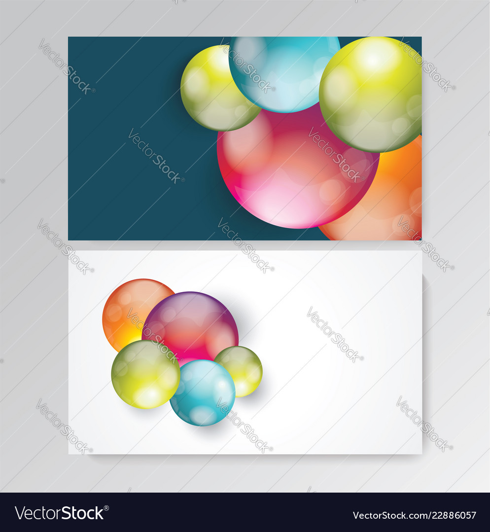 Business card design with bright balls composition