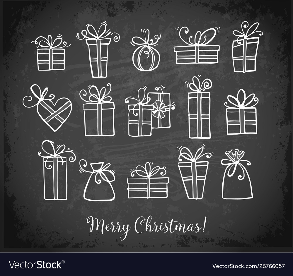 Doodle sketch gift boxes on blackboard background
