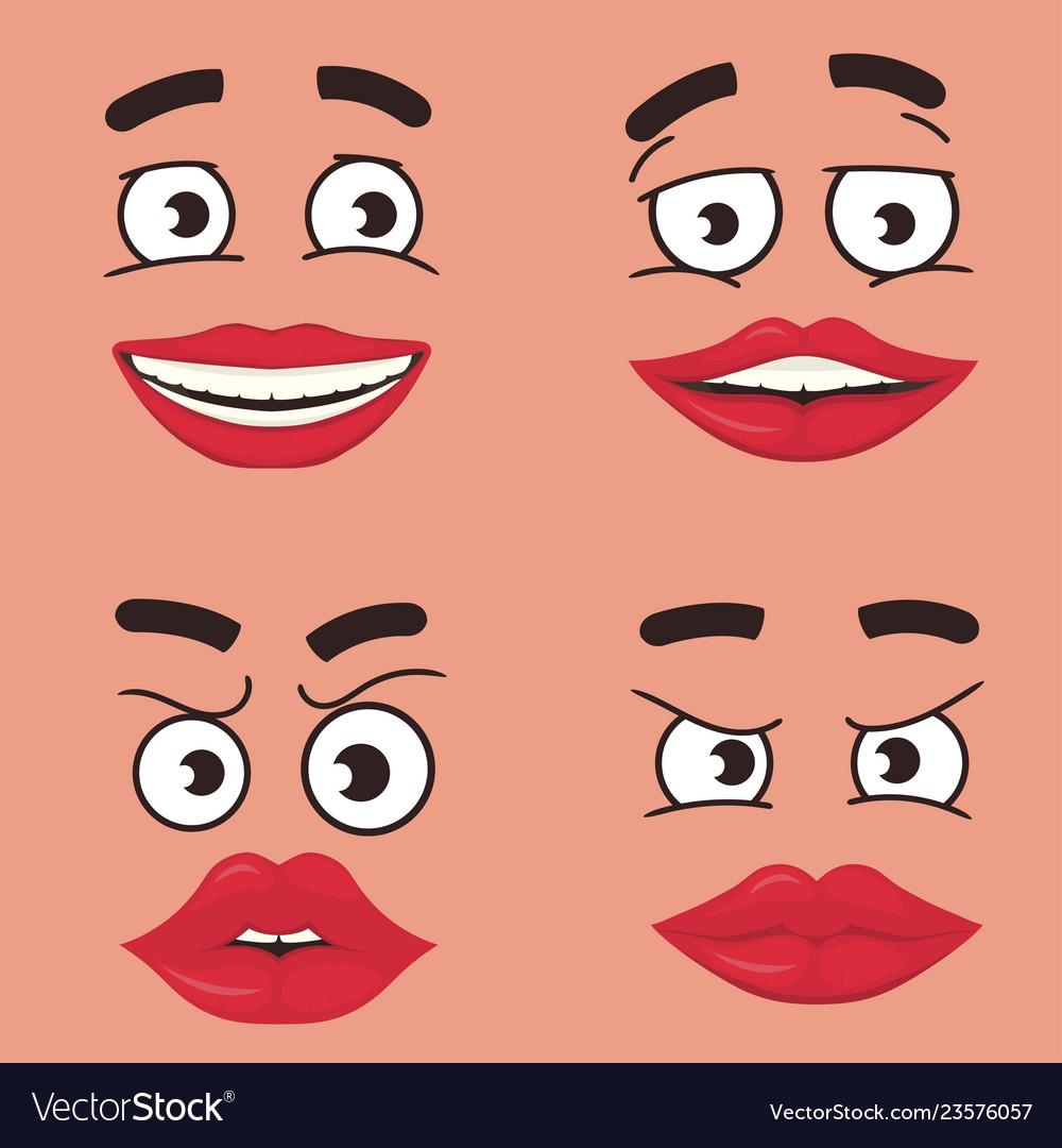 Funny faces set cartoon comics face expressions